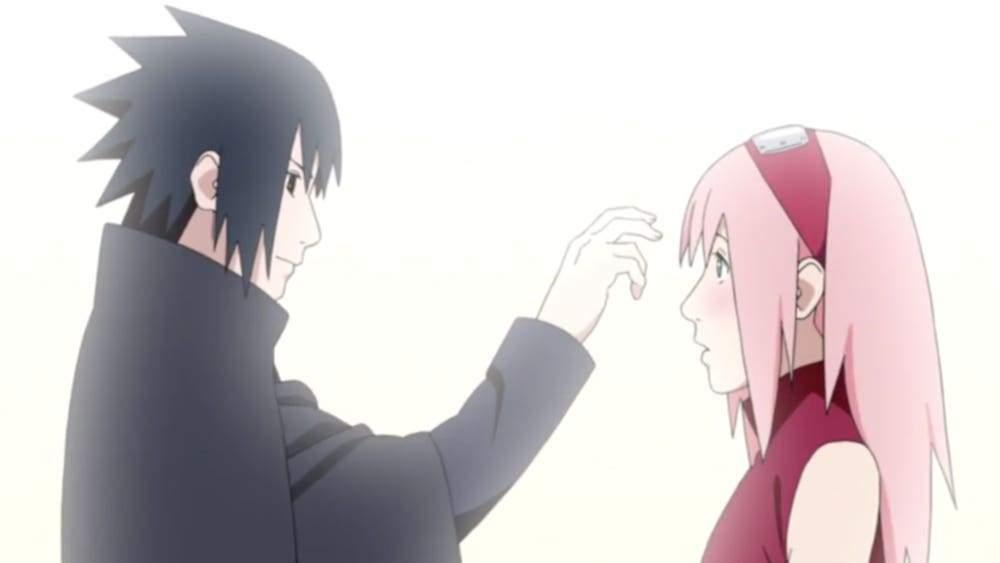 sasuke pokes sakura's forehead